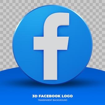 Renderowanie 3d logo facebook na białym tle