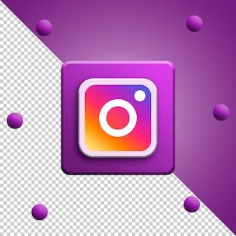Renderowanie 3d logo instagram na białym tle