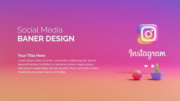 Renderowanie 3d logo instagrama na baner mediów społecznościowych
