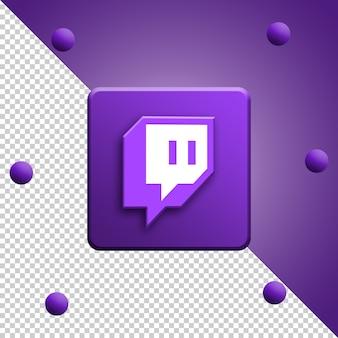 Renderowanie 3d logo twitch na białym tle