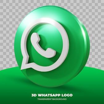 Renderowanie 3d logo whatsapp na białym tle