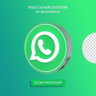 Renderowanie 3d logo whatsapp w stylu srebrnego koła w kolorze metalu