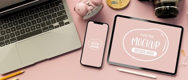 Renderowanie 3d makiety cyfrowego tabletu i smartfona