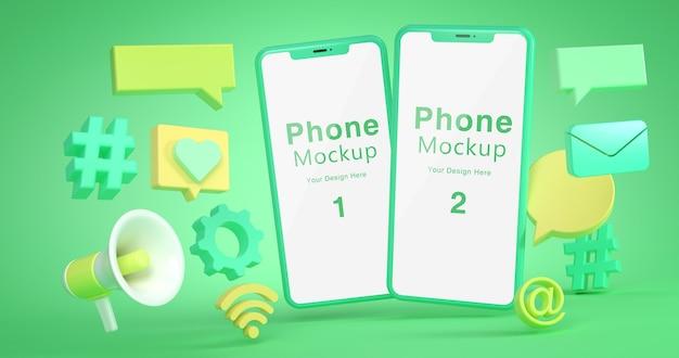 Renderowanie 3d makiety telefonu i ikony społecznej
