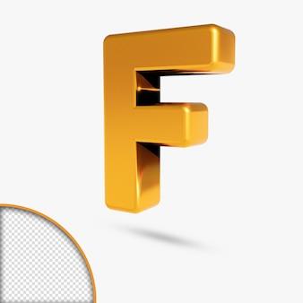 Renderowanie 3d metalicznego złotego alfabetu