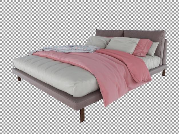 Renderowanie 3d minimalistycznego różowego wnętrza łóżka na białym tle