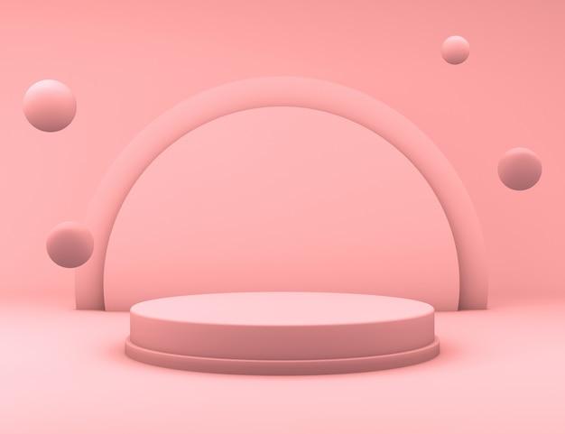 Renderowanie 3d minimalnego różowego podium z pływającymi kulkami do prezentacji produktu