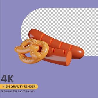 Renderowanie 3d modelowanie obiektów kiełbasa i precel ilustracja kreskówka
