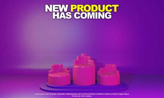 Renderowanie 3d na podium z różowego koła w celu umieszczenia prezentacji produktu