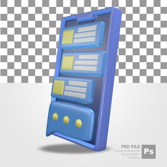 Renderowanie 3d obiektów mobilnych z wiadomościami i menu profilu