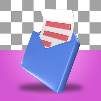 Renderowanie 3d obiektu ikony listu z niebieską pocztą koperta z arkuszem papieru do rachunkowości finansowej