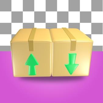 Renderowanie 3d obiektu ikony opakowania kartonowego z zieloną strzałką