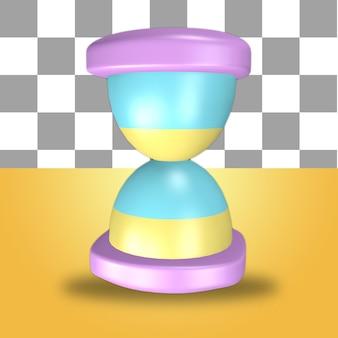Renderowanie 3d obiektu ikony różowej klepsydry