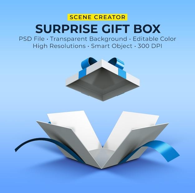 Renderowanie 3d otwartego pudełka na prezent niespodziankę