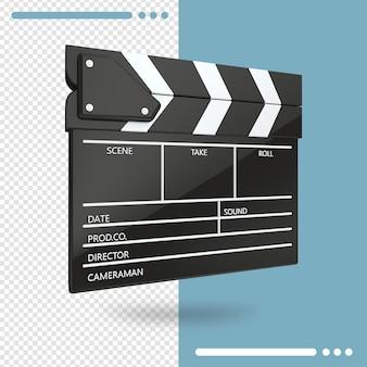 Renderowanie 3d otwartej klapy filmu lub klapy na białym tle