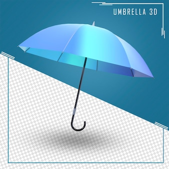 Renderowanie 3d parasola w kolorze niebieskim