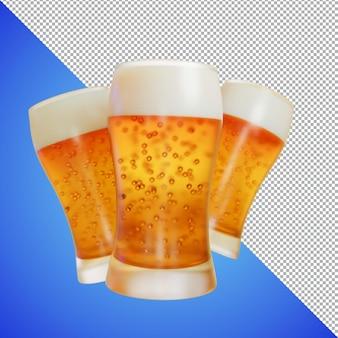 Renderowanie 3d piwa lub wina do podglądu obrazów i przykładowego produktu