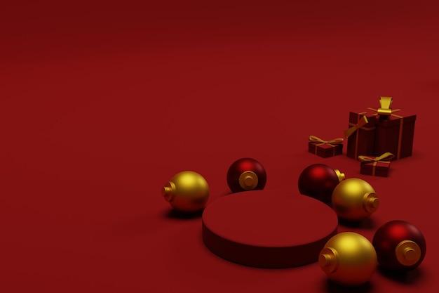 Renderowanie 3d podium świąteczne tło z czerwonym kolorem