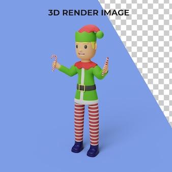 Renderowanie 3d postaci elfów świętego mikołaja z koncepcją świąt bożego narodzenia i nowego roku