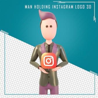 Renderowanie 3d postaci trzymającej logo na instagramie