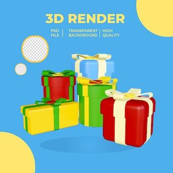Renderowanie 3d prezenty o różnych rozmiarach i kolorze na przezroczystym tle