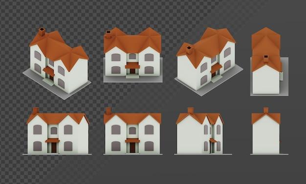 Renderowanie 3d prostego domu lowpoly z górnym kątem widoku ortograficznego