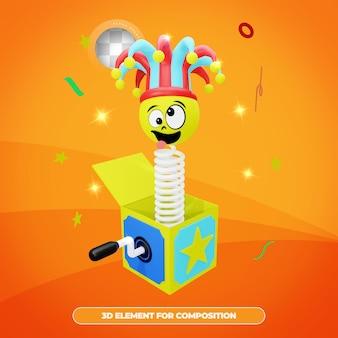 Renderowanie 3d pudełko niespodzianka prima aprilis z kapeluszem błazna z emotkami