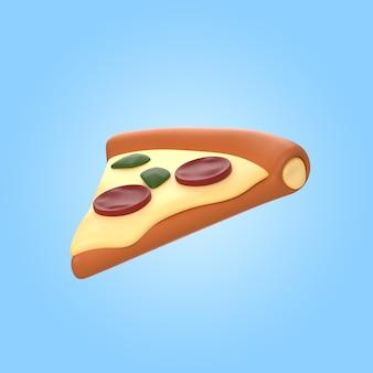 Renderowanie 3d pysznego kawałka pizzy