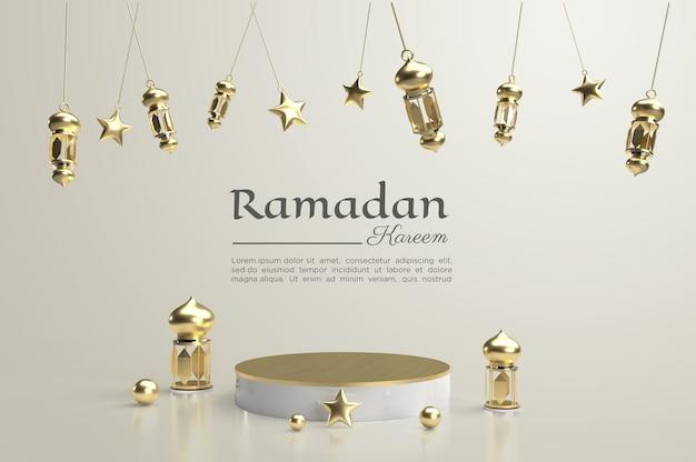 Renderowanie 3d ramadan kareem z podium i lampą do mediów społecznościowych