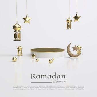 Renderowanie 3d ramadanu kareem z lampą i podium dla mediów społecznościowych