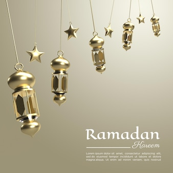 Renderowanie 3d ramadanu kareem z luksusową lampą do mediów społecznościowych
