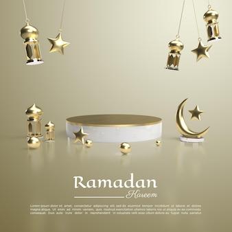 Renderowanie 3d ramadanu kareem z podium i lampą do mediów społecznościowych