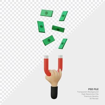 Renderowanie 3d ręka z magnesem przyciąga pieniądze