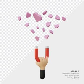 Renderowanie 3d ręka z magnesem przyciąga wiele różowych ikon w serduszkach