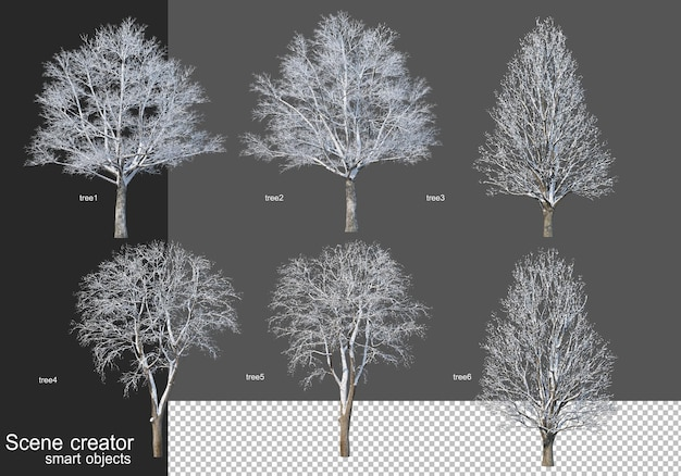 Renderowanie 3d różne rodzaje drzew zimą