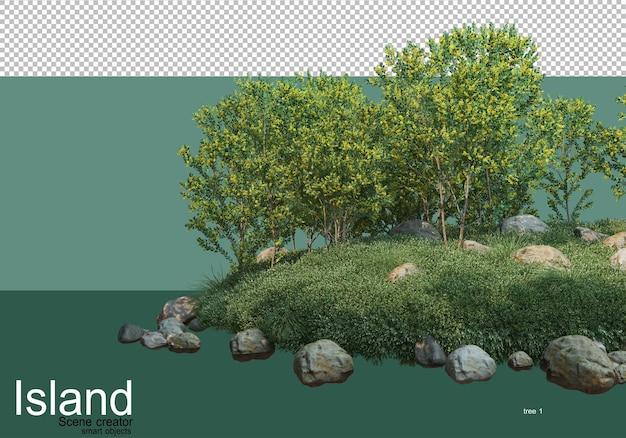 Renderowanie 3d różnych rodzajów drzew na wyspie