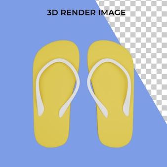 Renderowanie 3d sandałów plażowych premium psd
