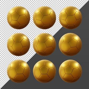 Renderowanie 3d sekwencyjnej złotej piłki nożnej obracający się widok perspektywiczny