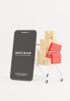 Renderowanie 3d smartfona z koszykiem na zakupy do makiety