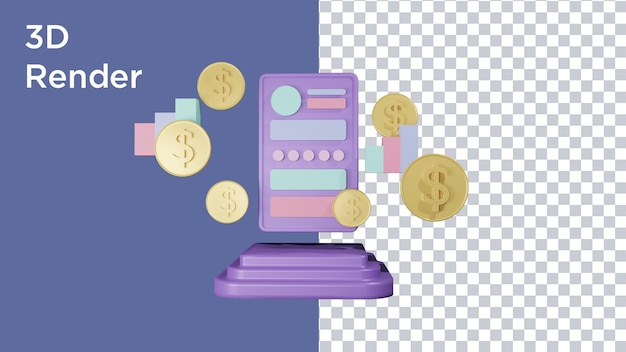 Renderowanie 3d smartfona z monetą dolara i ikony graficznej
