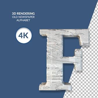 Renderowanie 3d starego alfabetu gazety na białym tle