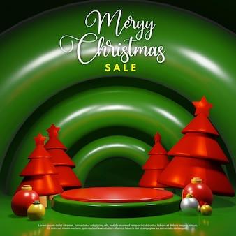 Renderowanie 3d świąteczne podium z czerwoną sosną i bożonarodzeniową kulą