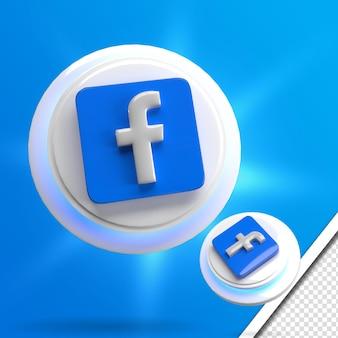 Renderowanie 3d świecące zestaw ikon mediów społecznościowych na facebooku