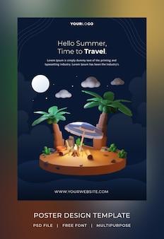 Renderowanie 3d, szablon plakatu hello summer, noc tematyczna z drzewem kokosowym i ogniskiem