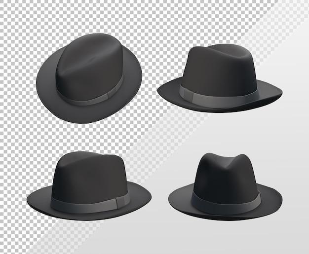 Renderowanie 3d szablonu czarnego klasycznego kapelusza z różnych perspektyw widzenia