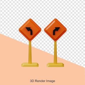 Renderowanie 3d tablicy kierunkowej konstrukcji w lewo i w prawo