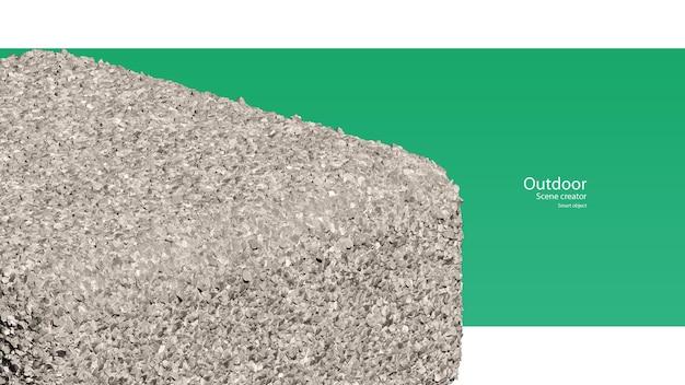 Renderowanie 3d układu stojaka gravel na okrągłym kształcie sześcianu