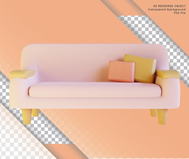 Renderowanie 3d uroczej różowej sofy do salonu z przezroczystym tłem