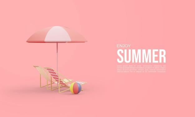 Renderowanie 3d w czasie letnim z leżakami i parasolami