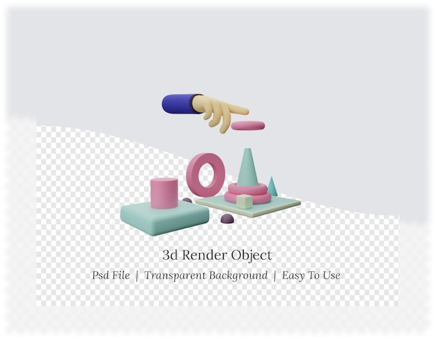 Renderowanie 3d zestawu zabawek dla dzieci